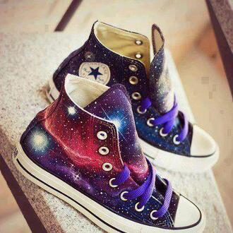 shoes galaxy print converse stars