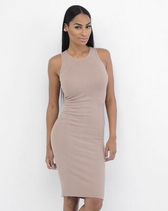 dress ribbed dress tan dress bodycon dress