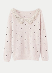 shirt,sweater,collar,pink,beaded,cute,polka dots,black,cream,white,soft,winter outfits