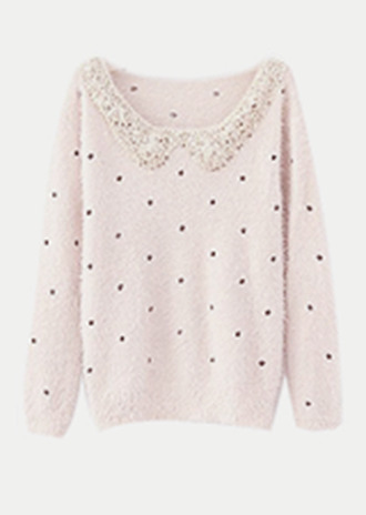 shirt sweater collar pink beaded cute polka dots black cream white soft winter outfits