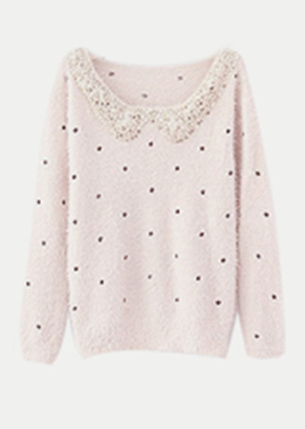 Shirt: sweater, collar, pink, beaded, cute, polka dots, polka dots ...