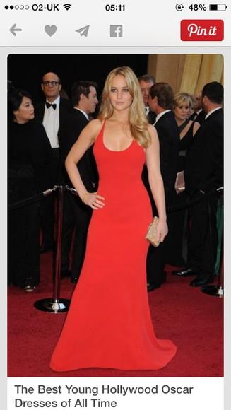 designer jennifer lawrence red dress something similliar floor length strappy elegant