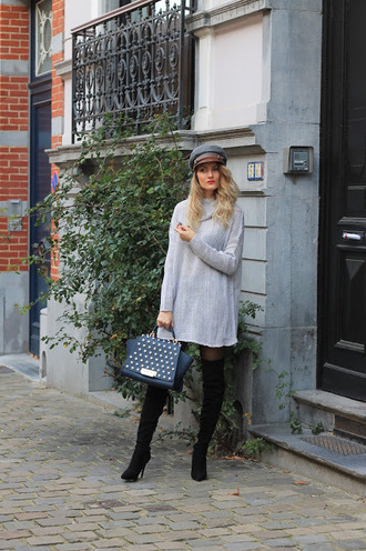 from brussels with love blogger sweater tights shoes bag sweater dress fall outfits handbag boots over the knee boots