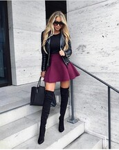 shoes,outfit,outfit idea,fall outfits,summer outfits,winter outfits,cute outfits,spring outfits,date outfit,party outfits,streetwear,stylish,fashion,trendy,clothes,purse,bag,black bag,handbag,black shoes,sexy shoes,summer shoes,cute shoes,heels,high heels,black heels,black high heels,high heels boots,pointed toe,pointed boots,boots,black boots,suede boots,thigh high boots,winter boots,over the knee boots,heel boots,little black boots,sunglasses,cute skirt,skirt,skater skirt,high waisted skirt,mini skirt,top,black top,summer top,cute top,long sleeves,jacket,leather jacket,black jacket,biker jacket,black leather jacket,winter jacket,spring jacket,burgundy skirt