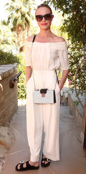 blouse,pants,slide shoes,coachella,off the shoulder,off the shoulder top,kate bosworth,shoes