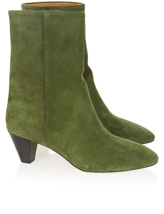 boots suede green shoes
