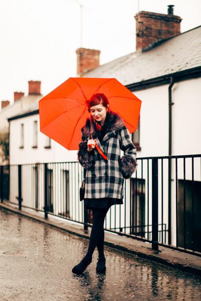 the clothes blogger coat winter coat flannel dress tights shoes bag