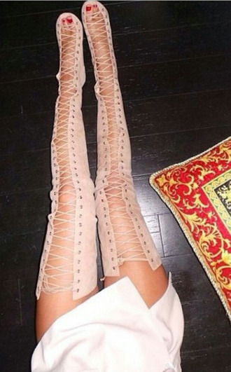 shoes knee high boots nude high shoes tie up boots suede boots thigh high boots nuetral sexy shoes clubwear
