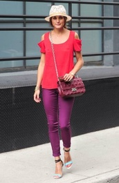 top,red,cut out shoulder,cotton t shirt,olivia palermo,celebrity style steal,fashion