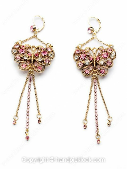 Pink Crystal Gold Butterfly Earrings - HandpickLook.com