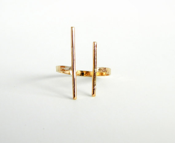 Double Bar Open Ring Bar Gold Ring Gold Bar Ring by camilaestrella