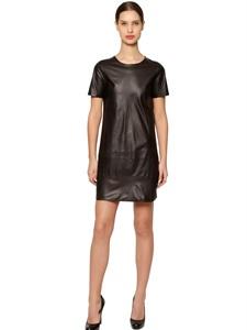 Stretch nappa leather dress