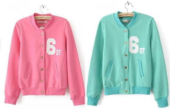 baseball jacket jacket mint pink hoodie candy