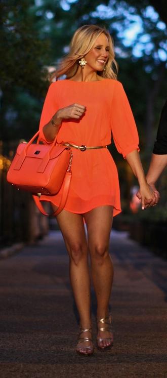 dress bright orange dress flowy dress neon dress gossip girl blonde hair shoes top skirt style boots t-shirt shorts summer dress bag