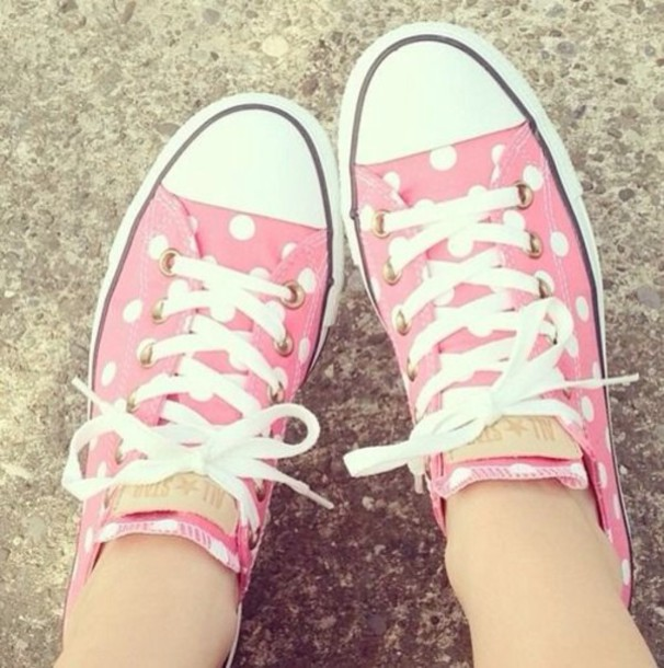 24549676c6b3e2 shoes converse polka dots pink
