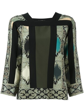 blouse printed blouse black top