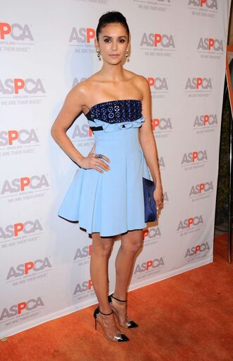 dress strapless pumps nina dobrev prom dress shoes