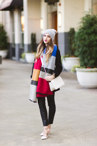 vickys style blogger blanket scarf leather pants