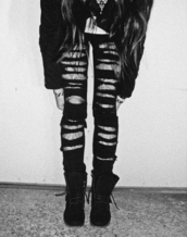 jeans,ripped jeans,cut,slashed,black,denim,pants,tumblr,pinterest,found on pintrest,rip it up jeans,grunge,black jeans,ripped,black ripped jeans