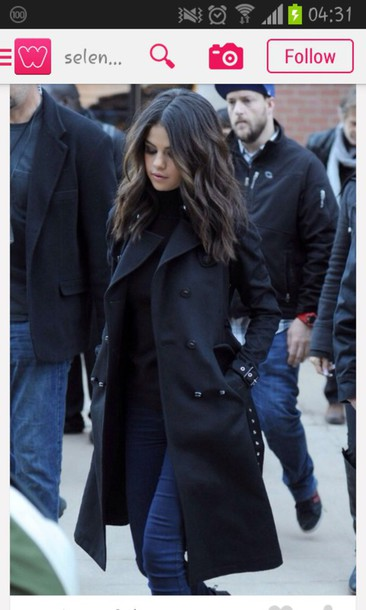 coat black coat coat black clothing selena gomez sweater