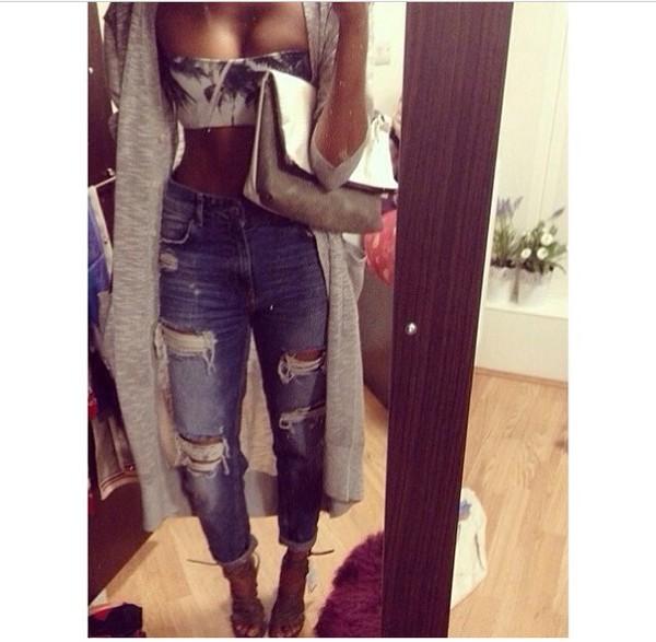 top jeans bikini bralette cardigan clothes shoes heels