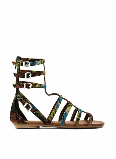 Tribal-Print-Gladiator-Sandals BLACKMULTI - GoJane.com