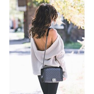 sweater grey sweater open back backless backless top black bag bag chain bag chanel chanel bag tumblr