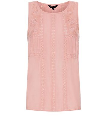 Pink Embroidered Lace Insert Shell Top