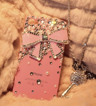 phone cover iphone case pink jewels bows jacket