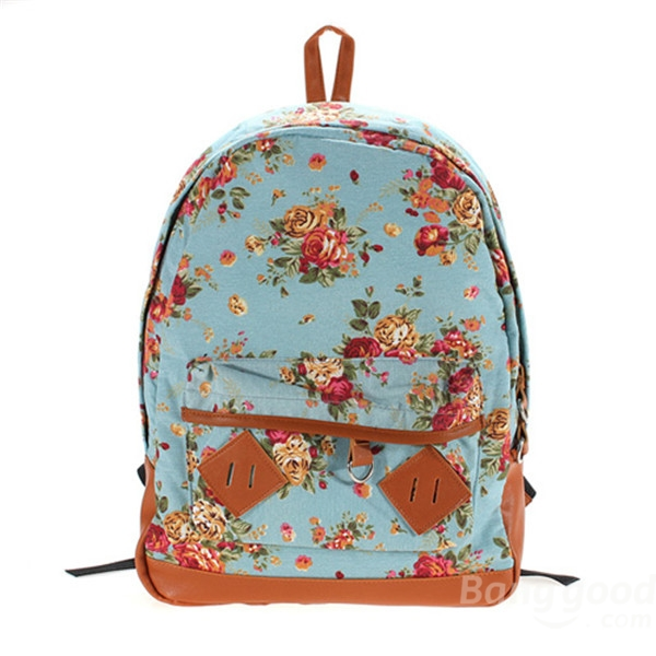 New Women Girl Vintage Cute Flower Schoolbag Bookbags Backpack Black Bag - CA$14.14