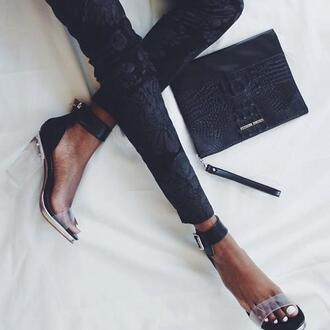 pants clothes bag shoes black pants black matte black floral pants floral black colorful black heels black/white heels clear heels chunky heels black clutch jeffrey campbell clear detailed heels skinny jeans brocade