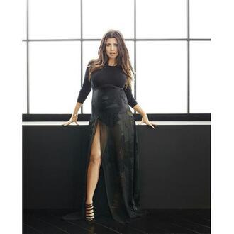 dress black dress slit kourtney kardashian pumps all black everything shoes