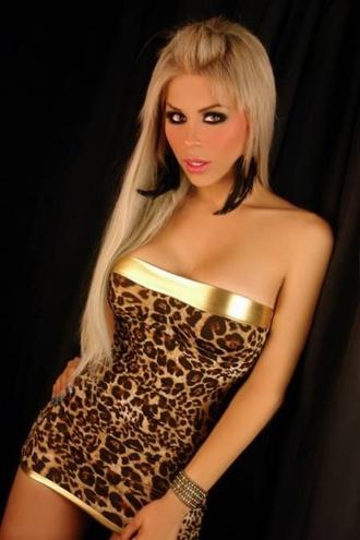 dress leopard print sexy fashion style blonde hair