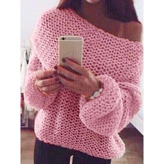 sweater knitwear pink fashion style cute sweet slash neck long sleeve solid color chunky knits women's sweater warm cozy off the shoulder long sleeves fall outfits