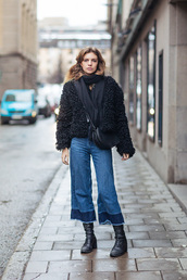 pants,denim culottes,blue pants,culottes,cropped jeans,palazzo pants,boots,black boots,flat boots,coat,fur coat,black coat,winter outfits,winter coat,bag,black bag,crossbody bag