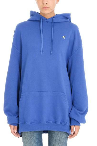 Vetements hoodie oversized print blue sweater