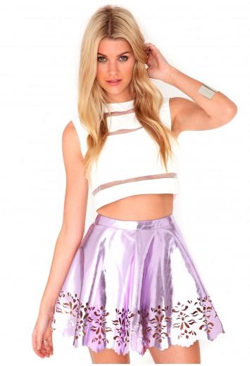 Jandy Laser Cut Skater Skirt - skirts - skater skirts - missguided