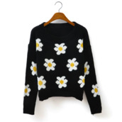 sweater,daisy,white,flowers,pretty,shorts,shoes,knit,cute,tumblr,crop tops,cropped,undefined,lilac,girl,polarneck,daisy sweater,jewels,floral,black,cropped sweater,florals,top,yellow,white crop tops,dasiy,multiple flowers,blouse,charlotte russe,black round neck,white daisy,long sleeves,knitwear,daisy jumper,winter sweater,collar,sunflower,shirt,polka dots