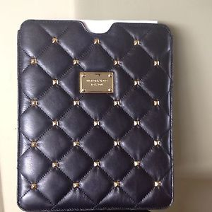 Michael Kors Leather Quilted Stud Black iPad Case MSRP $128 | eBay