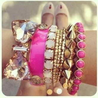 jewels bracelets pink pink bracelets pink bracelet white white bracelets set bracelets bow stacked bracelets bijoux glitter gold jewelry