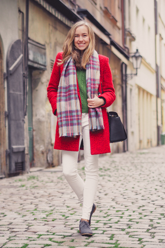 a cup of style blogger bag red coat tartan scarf skinny pants
