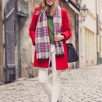 scarf sweater jeans bag shoes coat top blogger tartan scarf a cup of style red coat skinny pants scarf red