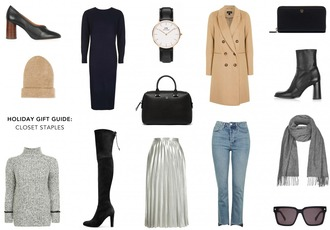 crystalin marie blogger shoes sweater dress jewels coat hat bag skirt jeans scarf sunglasses winter outfits pleated skirt handbag watch grey sweater beanie boots black dress