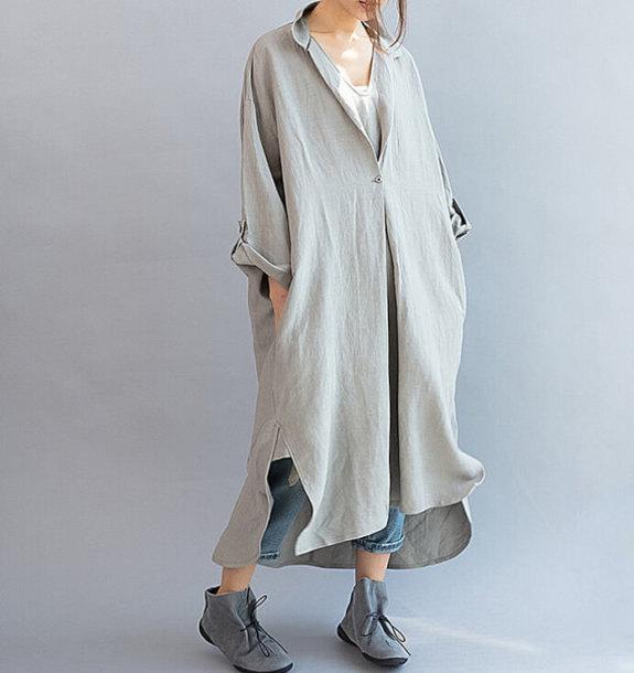 dress maxi dress gray oversized dress