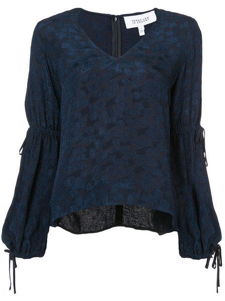 DEREK LAM 10 CROSBY blouse women drawstring blue top