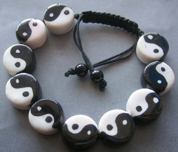 Hand Painted YinYang 8Diagram Beads Chinese Porcelain by 8giftshop