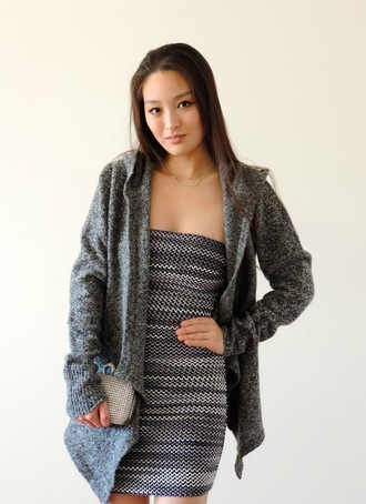 sensible stylista blogger knitted cardigan bustier dress