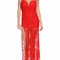 Red lace strapless side slit maxi party dress
