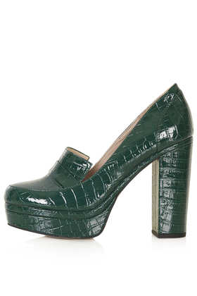 SALLY Teal Croc Loafers - Topshop USA