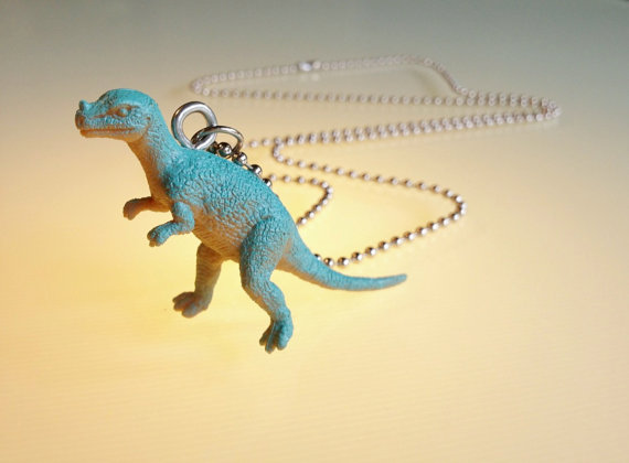 Dinosaur necklace unisex sky blue this by GenestDesign on Etsy